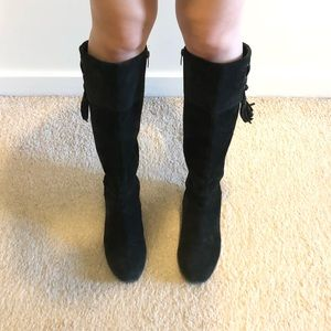 Knee high black suede boots size 6